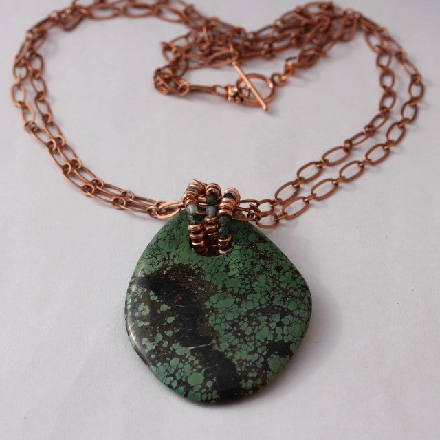 Green chrysocolla stone pendant necklace on doubled copper chain