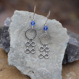 Statement chain earrings with sapphire blue Swarovski crystals.