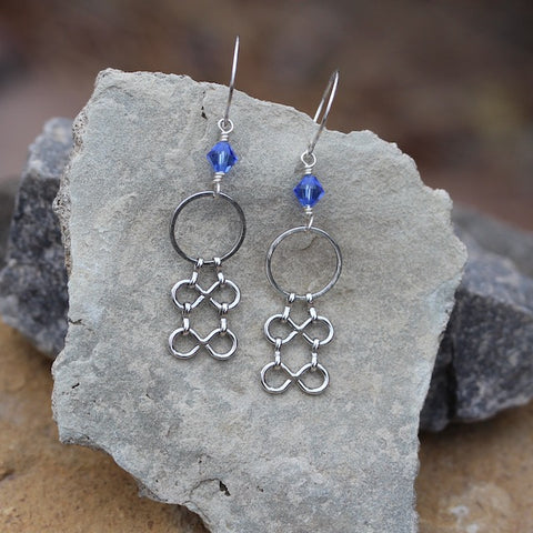 Statement chain earrings with sapphire blue Swarovski crystals