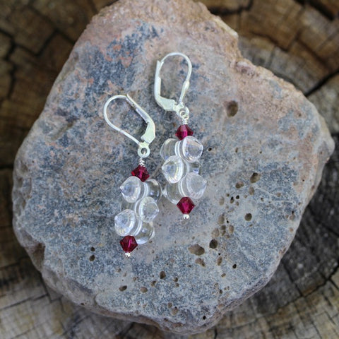 Clear crystal earrings with ruby Swarovski crystals