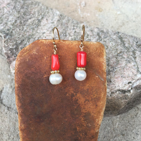 Coral and freshwater pearl earrings with gold vermeil