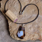 Agate slab stone pendant necklace with snowflake charm