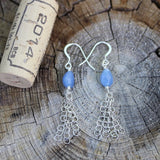 Earrings with blue quartz drops and sterling chain tassels with cork for size reference