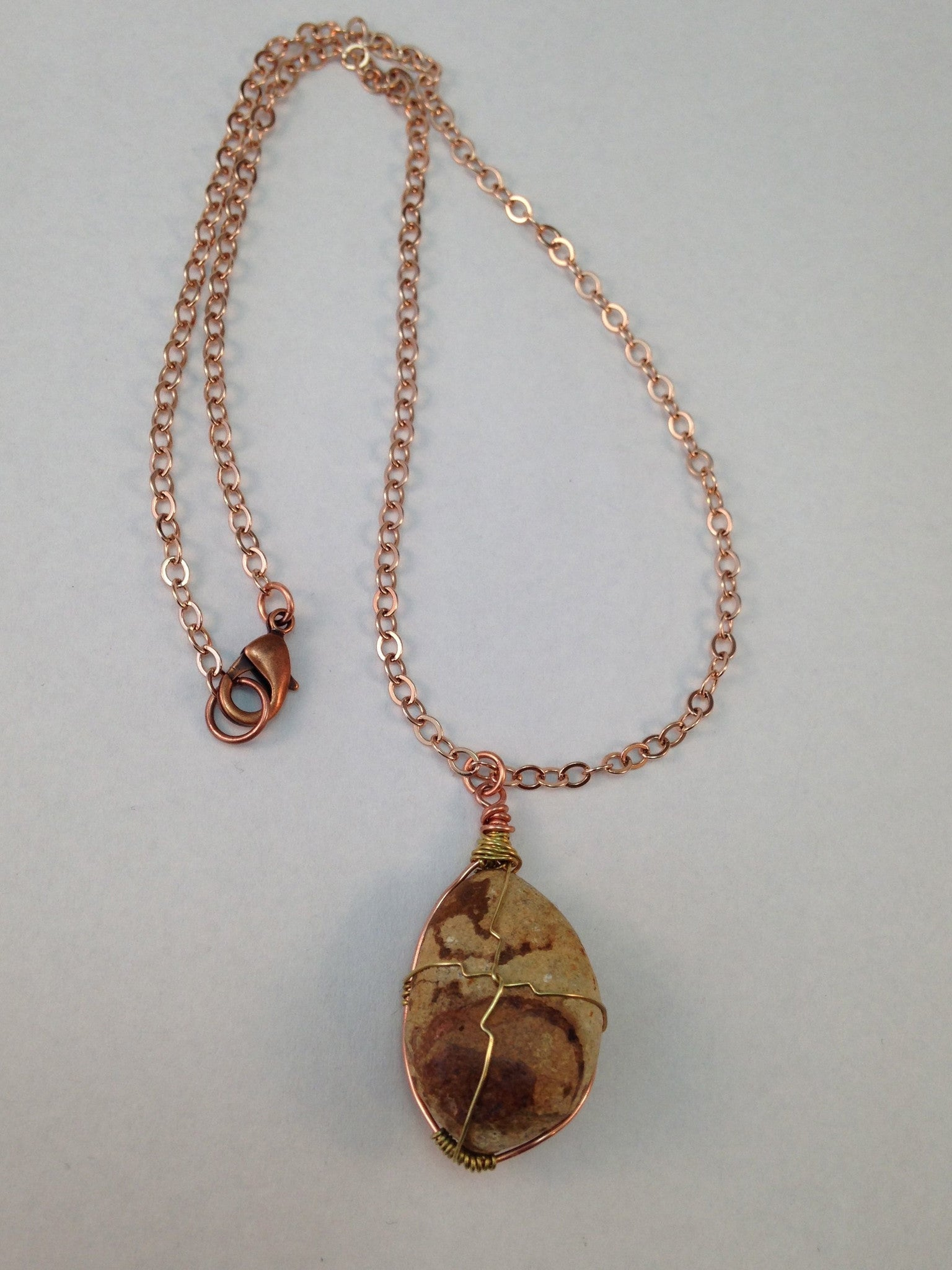 Long pendant necklace. Brass and copper wire wrapped. – DKTDesigns