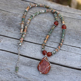 Durango trails red stone pendant necklace with agate and carnelian