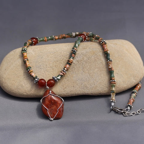 Durango Trails Collection stone pendant necklace with agate and carnelian