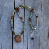 Durango trails stone pendant necklace with green turquoise and Baltic amber