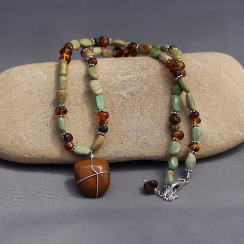 Durango Trails stone pendant necklace with turquoise and amber