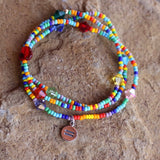 Equality charm stretch necklace or bracelet with rainbow seed beads and Swarovski crystals
