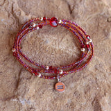 Equality charm stretch necklace or triple wrap bracelet with red seed beads, Swarovski crystals and silver round beads