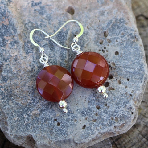 Faceted carnelian coin earrings with sterling silver ear wires