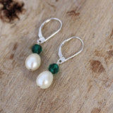 Earrings with freshwater pearls and green crystals, sterling lever back ear wires