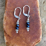 Deep blue freshwater pearls and green amethyst earrings with sterling silver lever back ear wires