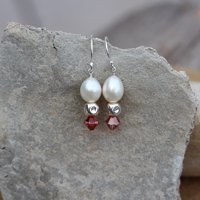 White freshwater pearl earrings with sterling cube beads and dark orange Swarovski crystals on sterling ear wires
