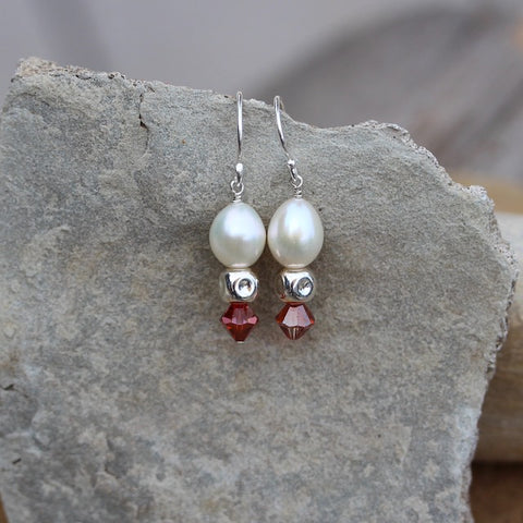 Freshwater pearl earrings with sterling cubes and Swarovski crystals