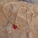 Gold-filled faith pendant necklace with red glass heart on 14k gold filled chain