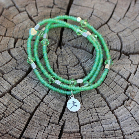 Warrior stretch necklace or triple wrap bracelet with sterling yoga charm