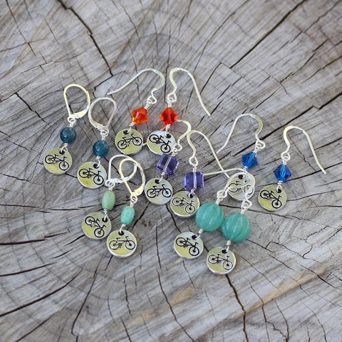 Adventure series bike charm earrings with Swarovski crystals and natural stones