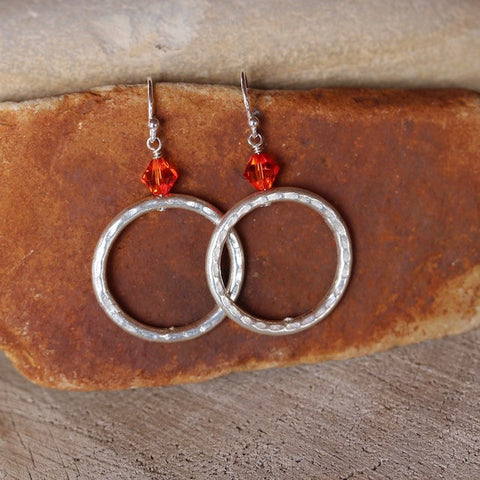 Hammered sterling silver hoop earrings with Swarovski crystals