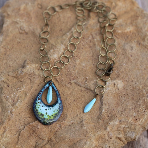 Enamel pendant necklace with turquoise glass spike beads on brass chain