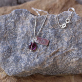 Sterling Joy charm necklace with purple glass heart
