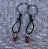 Boho style leather loop earrings with Thai silver beads and Swarovski crystals on bronze ear wires