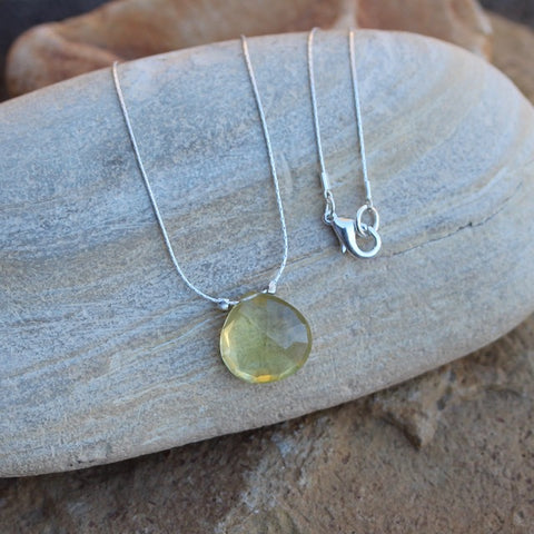 Lemon quartz stone pendant necklace on sterling silver chain