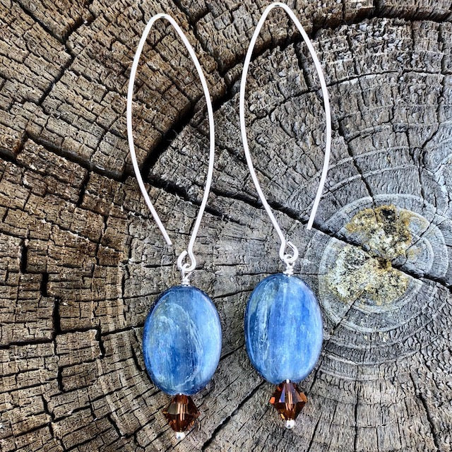 Long oval earrings with blue kyanite and mocha Swarovski crystals
