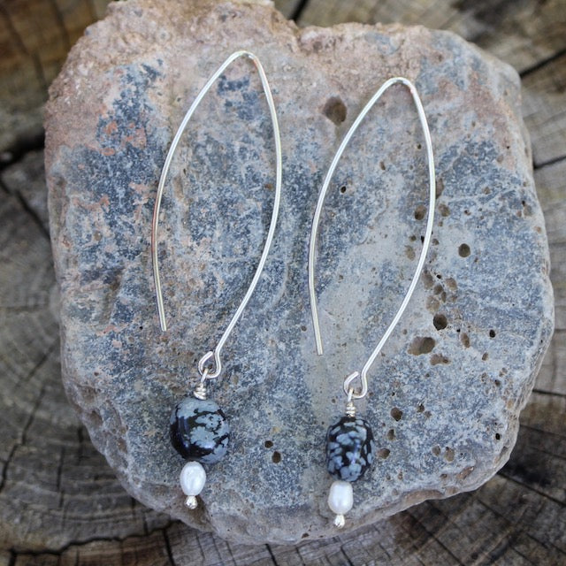 Long silver oval earrings with snowflake obsidian and freshwater pearls