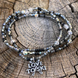 Love to ski charm stretch necklace or triple wrap bracelet