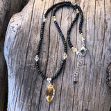 Marquise cut citrine pendant necklace with black spinel and sterling silver