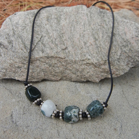 Men's cord necklace with moss agate nuggets