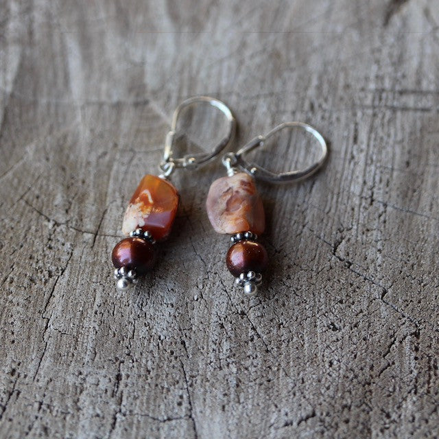 Mexican fire opal and freshwater pearl earrings