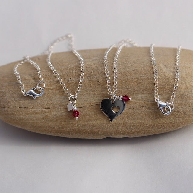 Sterling chain two necklace set with heart charms and ruby Swarovski crystals