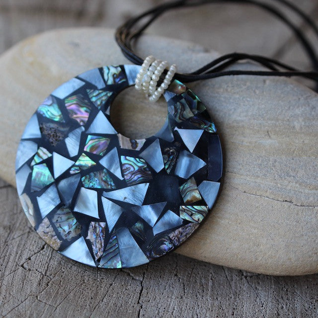 Mother of pearl mosaic pendant necklace dktdesigns aloadofball Image collections