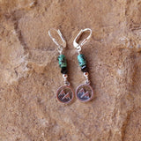 Sterling mountain charm earrings with turquoise and black Swarovski crystals on sterling lever back ear wires.