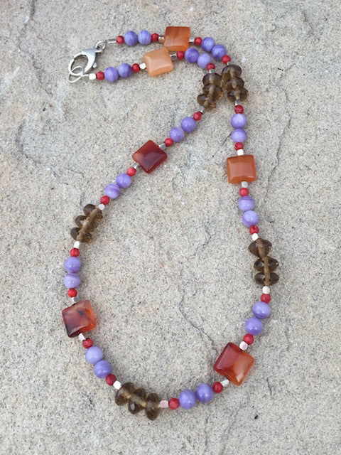 Colorful red agate, blue lace agate, smoky quartz, red coral and sterling necklace