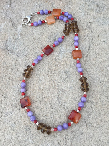 Colorful agate, quartz and coral necklace