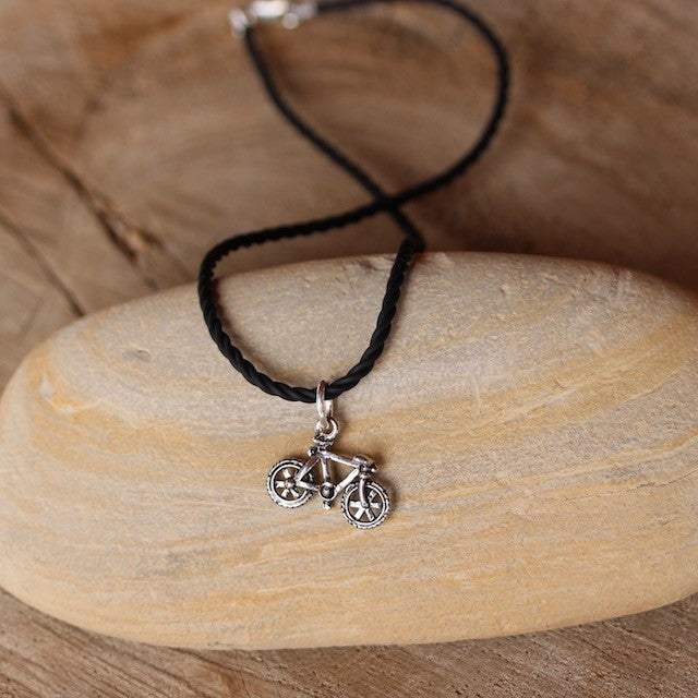 Pewter bicycle charm necklace for men or women