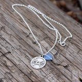 Pewter weight plate pendant with blue glass heart on sterling chain necklace