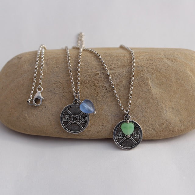 Pewter weight plate pendant necklace on sterling chain with green or blue glass heart