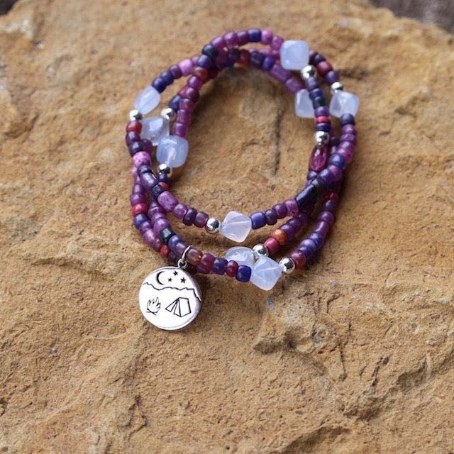 Camping charm stretch necklace or triple wrap bracelet with purple beads and blue lace agate cube beads.