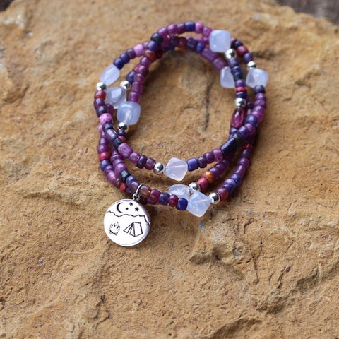 Camping charm stretch necklace or triple wrap bracelet with purple beads