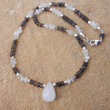Quartz drop pendant with moonstone and iolite necklace