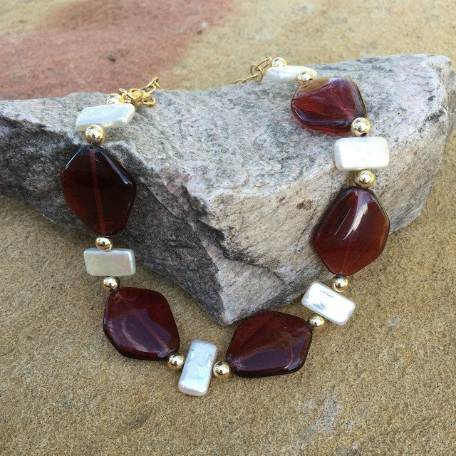 Red glass nuggets with pearls and gold-filled chain necklace