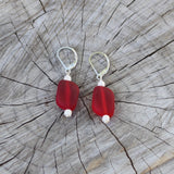 Red recycled sea glass earrings with pearly glass beads
