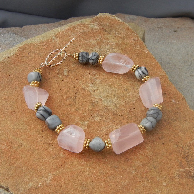 Rose quartz nuggets bracelet