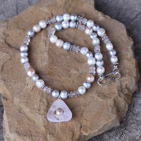 Rose quartz triangle pendant necklace with pastel freshwater pearls