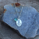 Sterling silver pendant with etched stand-up-paddleboard girl on sterling chain necklace