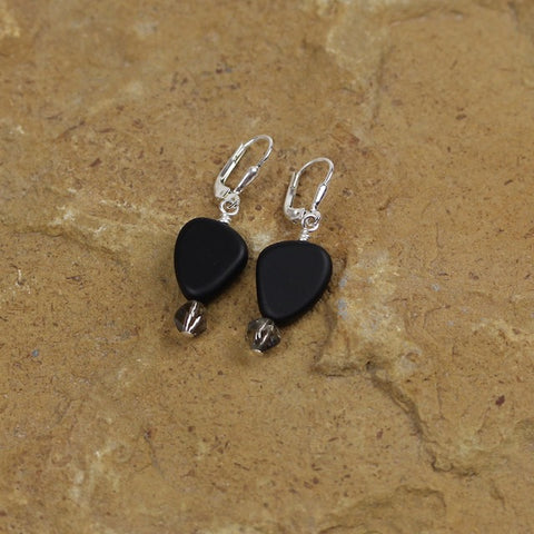 Black recycled sea glass earrings with Swarovski crystals